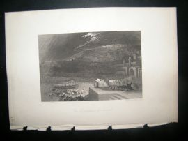 After John Martin 1838 Antique Religious Print. Repentance of Nineveh